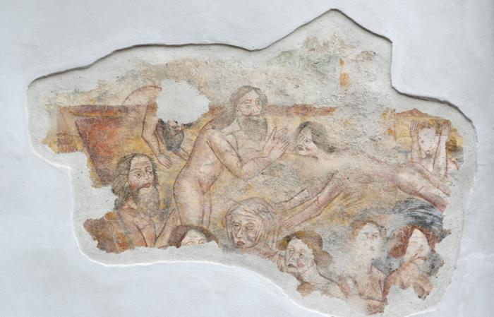 Affresco parete esterna locanda Aquila Nera - Fontana di giovinezza (Remo Michelotti)