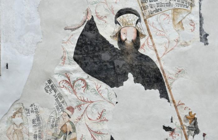 Affresco parete esterna Locanda Aquila Nera - Armigero, Gigante Thun e coppia cortese (Remo Michelotti)